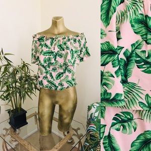 NWT Tropical Palm Leaf OFF-SHOULDER PEASANT TOP L